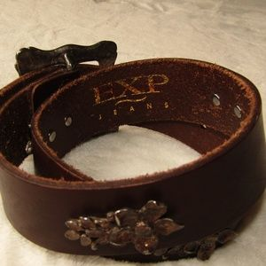 EXP JEANS GENUINE LEATHER BELT BROWN BOHO CHIC SMA
